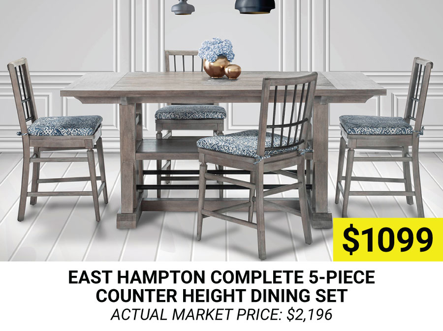 East Hampton Complete 5-Piece Counter Height Dining Set $1099