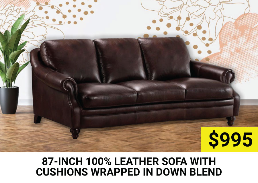 87-inch 100% Leather Sofa $995