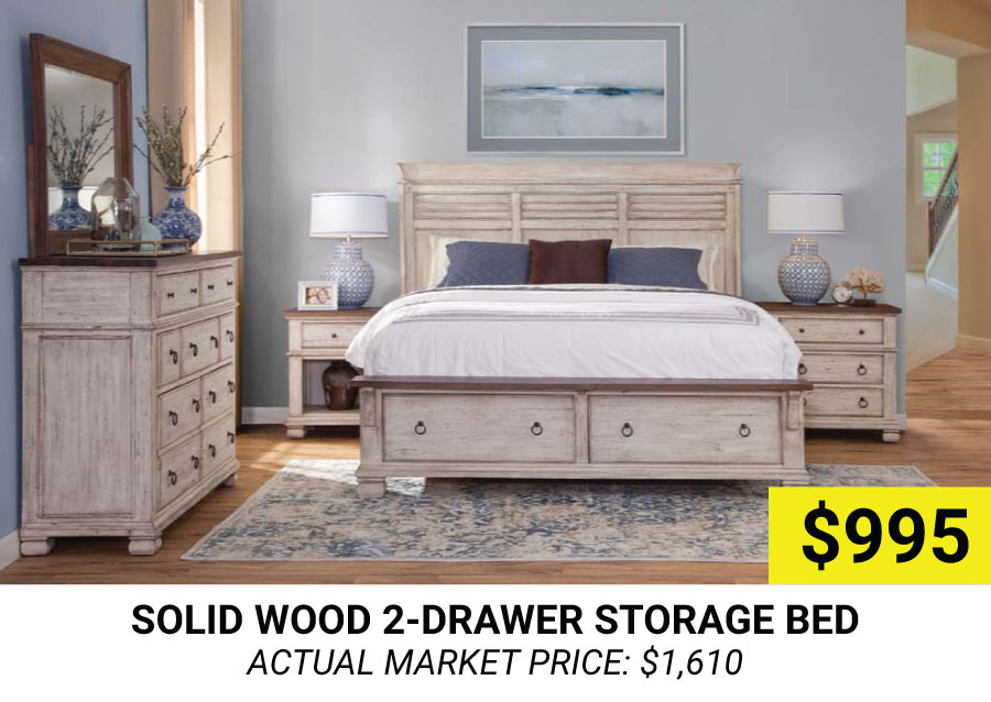 Solid Wood 2-Drawer Storage Bed $995