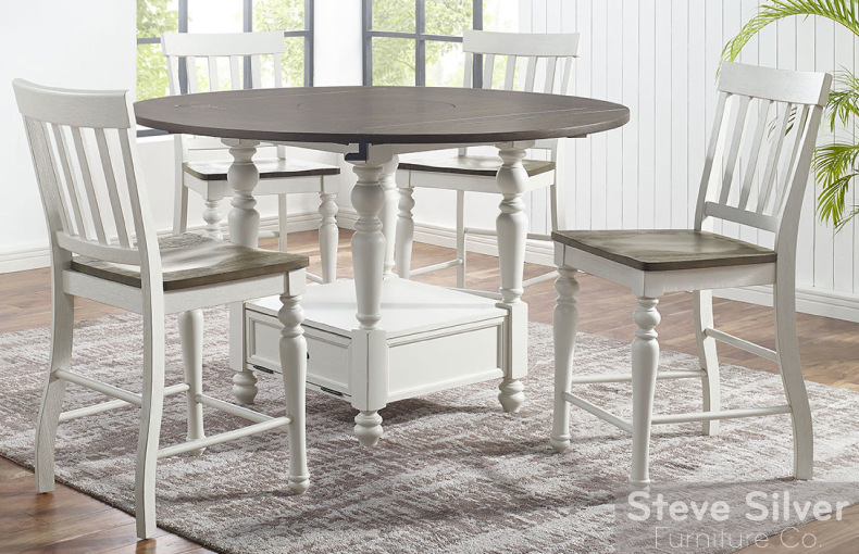 JOANNA 5-PIECE ROUND COUNTER HEIGHT FARMHOUSE DINING SET