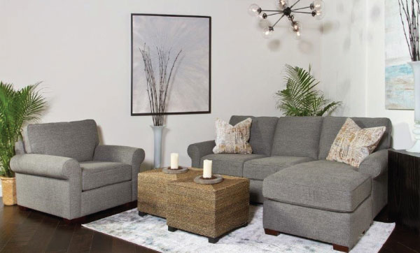 Gray Sofa Chaise and Chair