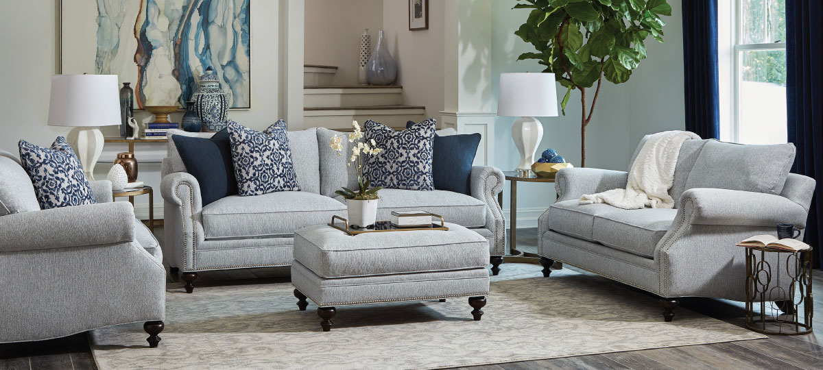 Sofa, Love Seat, Chair and Ottoman with Nail Head Trim