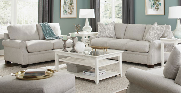 White Sofa with Roll Arms