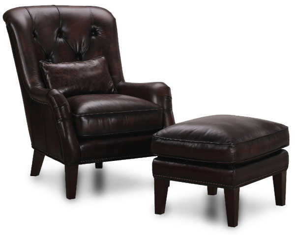 Leather Brown Chair and Ottoman