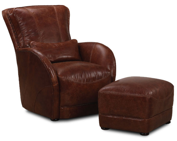 Leather Chestnut Brown Chair and Ottoman