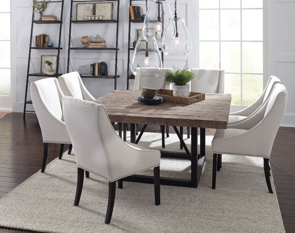 Square Dining Table with Upholstered Chairs