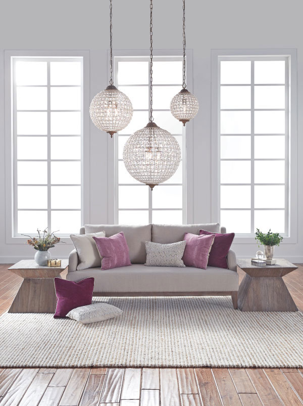 Neutral Living Room with Purple Pillows