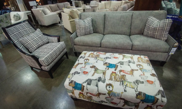 Plaid Chair, Sofa with Plaid Accent Pillows and Dog Ottoman