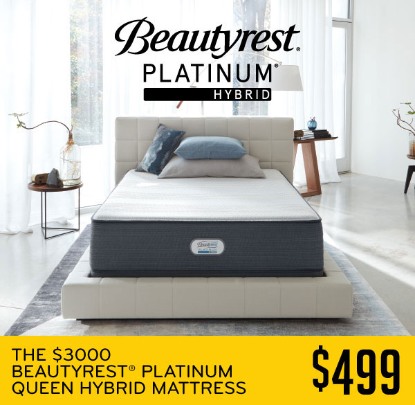 The $3000 Beautyrest Platinum Queen Hybrid Mattress $499