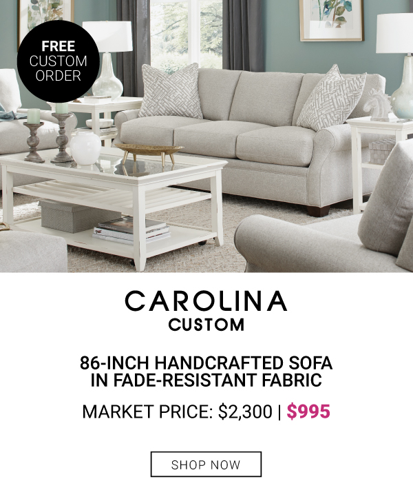 Carolina Custom 86-Inch handcrafted Sofa in Fade-Resistant Fabric $995