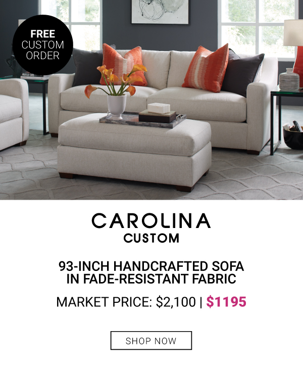 Carolina Custom 93-Inch HandCrafted Sofa in Fade-Resistant Fabric $1195