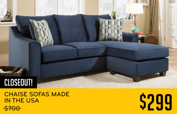 Chaise Sofas Made In The Usa Blue 299