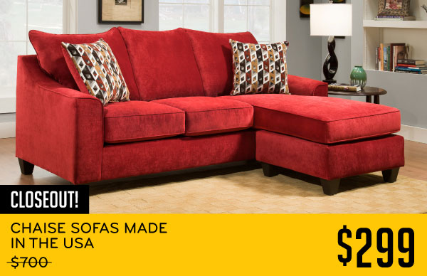 Chaise Sofas Made In The Usa Red 299