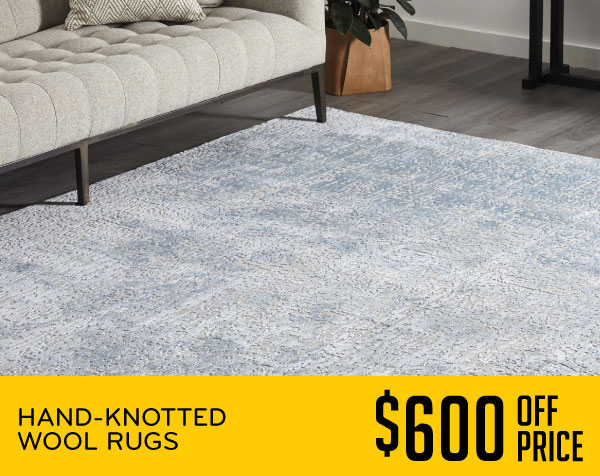 Hand-Knotted Wool Rugs $600 Off Price