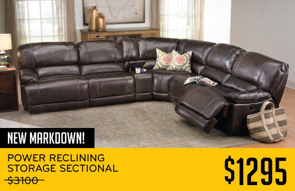 New Markdown Reclining Storage Sectional 1295