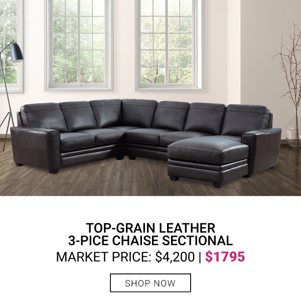 Top-Grain Leather 3-Piece Chaise Sectional $1795