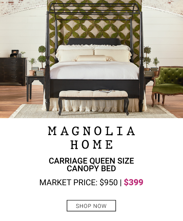 Magnolia Home Carriage Queen Size Canopy Bed $399