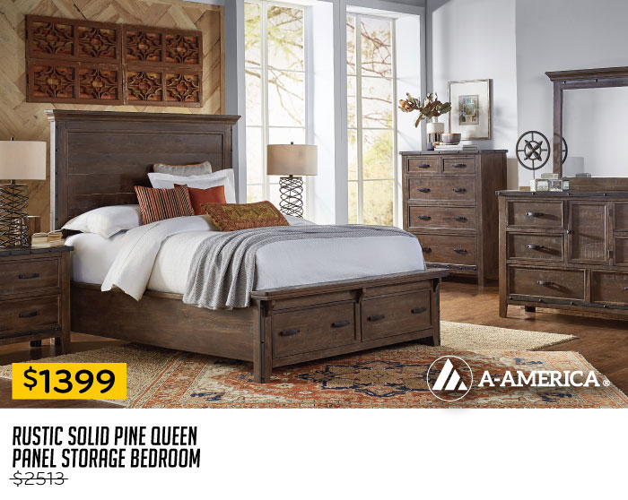 $1399 Rustic Solid Pine Queen Panel Storage Bedroom