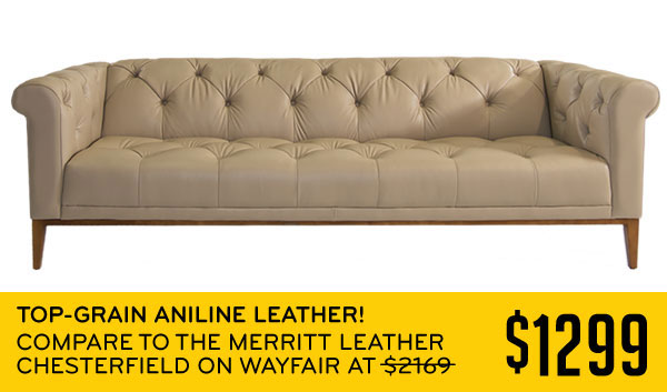 Top-Grain Aniline Leather! Compare to the Merritt Leather Chesterfield on Wayfair $1299
