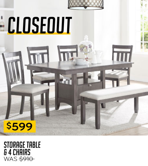 Closeout $599 Storage Table & 4 Chairs