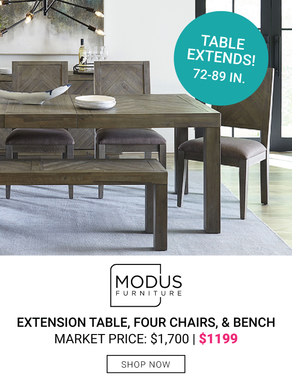 Modus Furniture Extension Table, 4 Chairs and Bench $1199