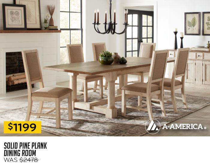Solid Pine Plank Dining Room $1199