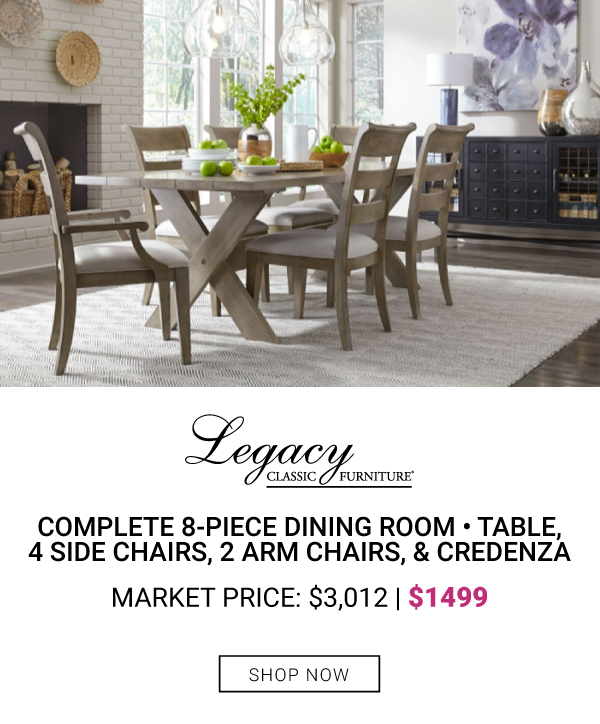 Complete 8-Piece Dining Room Table, 4 side chairs, 2 arm chairs & credenza $1499