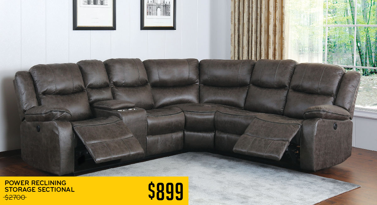 Power Reclining Storage Sectional $899