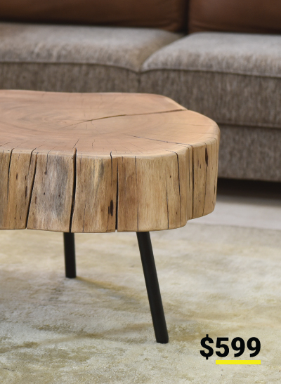 Bruno Live Edge Acacia Wood Large Cocktail Table