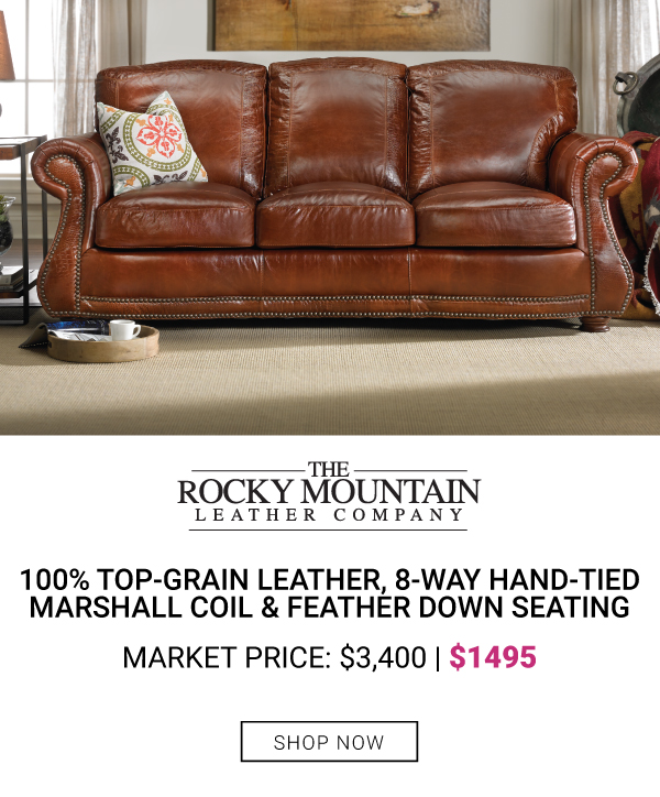 Rocky mountain Leather Roll Arm Sofa $1495