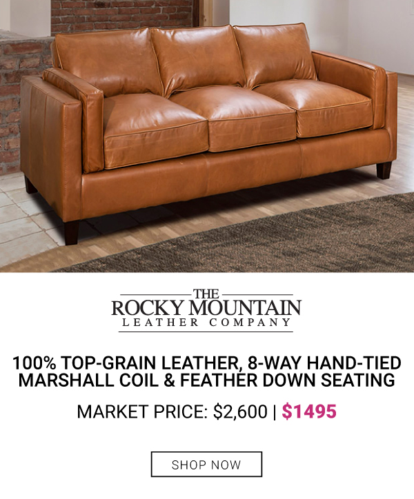 Rocky mountain Leather Track Arm Sofa $1495