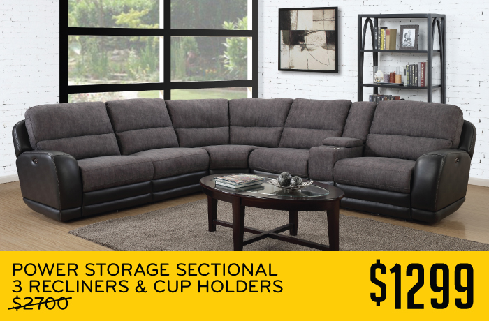 Power Storage Sectional 3 Recliners & Cup Holders $1499