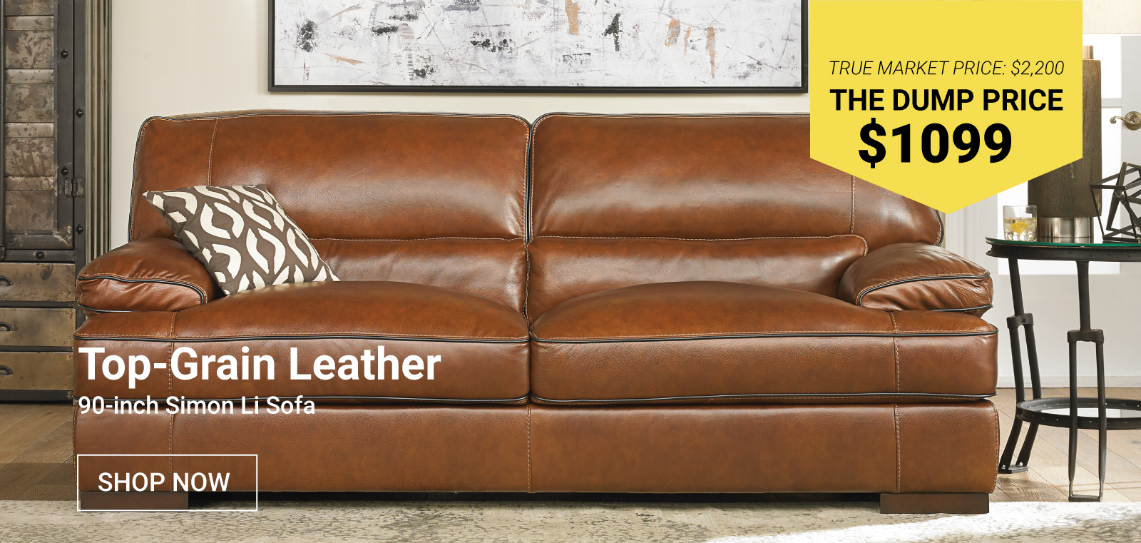 Top-Grain Leather 90-Inch Simon Li Sofa $1099