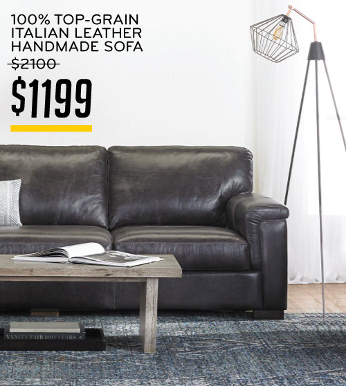 100% Top-Grain Italian Leather Handmade Sofa $1199