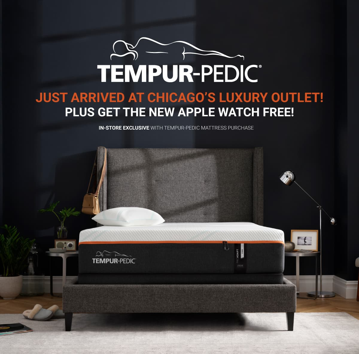 Tempur-pedic just arrived at chicago's luxury outlet! Plus get the new Apple watch free! In-store exclusive with Tempur-pedic mattress purchase.