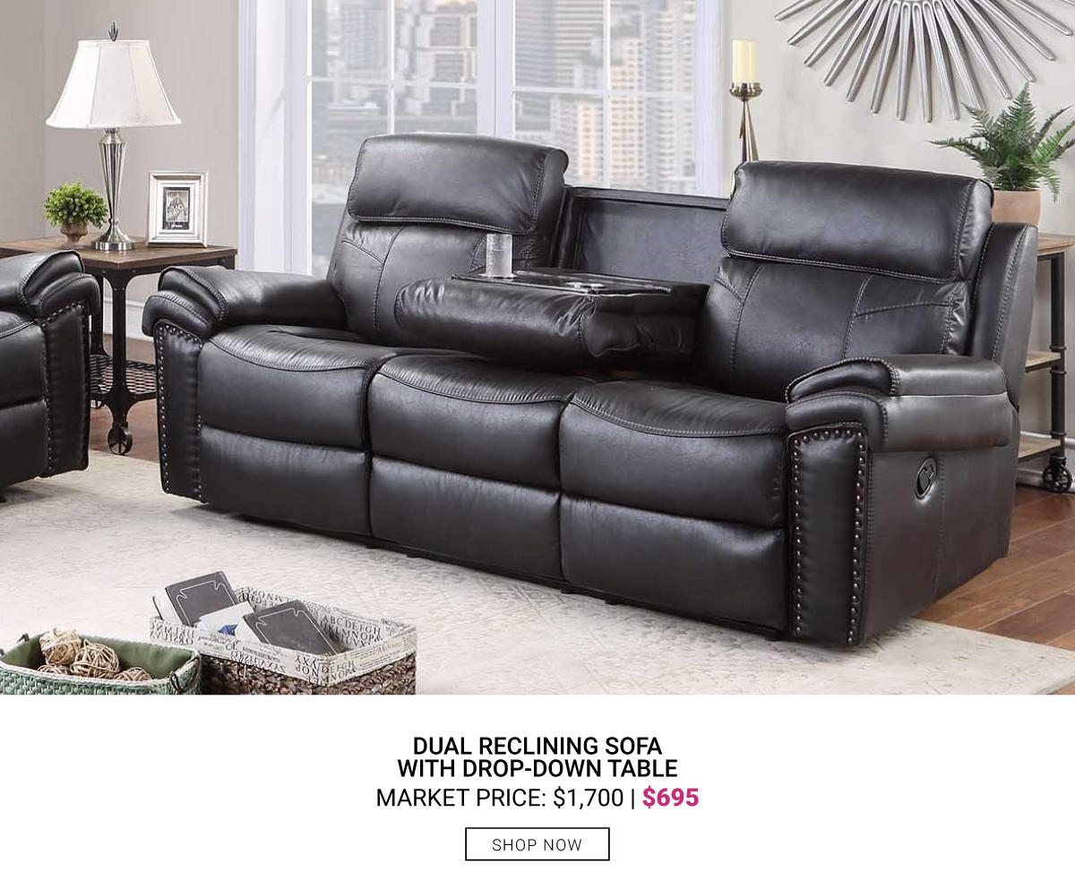 Dual Reclining Sofa with Drop-Down Table $695