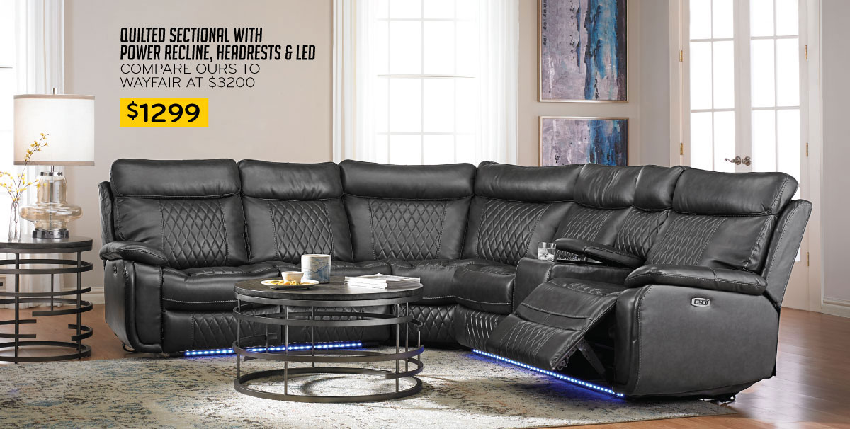 $1299 Quilted Sectional with Power Recline, Headrests & LED Compare Ours to Wayfair at 3200