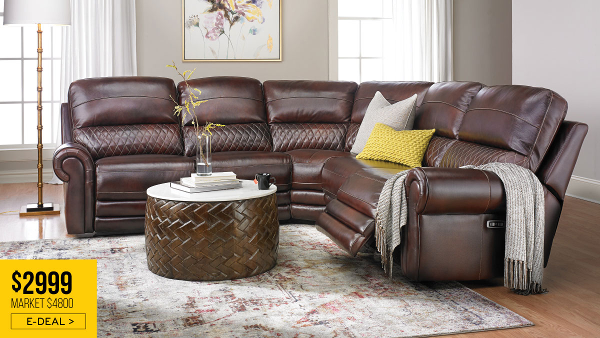 Era Nouveau Quilted Power Reclining Sectional with USB Ports