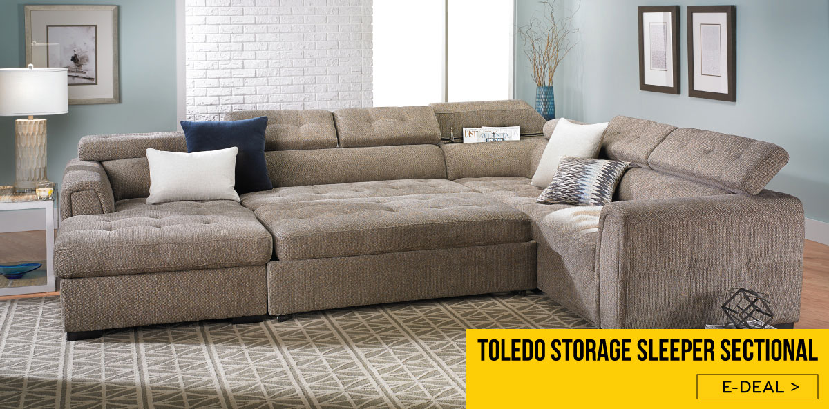 Toledo Contemporary Sleeper Storage Sectional | The Dump ...