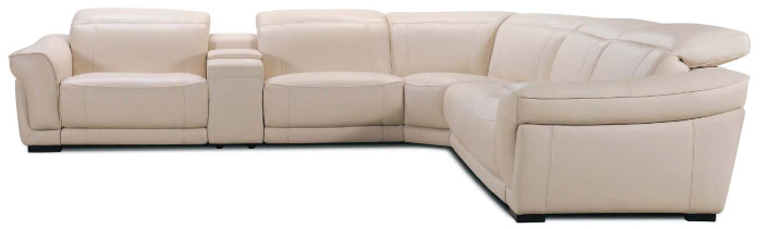 Violino White Leather Sectional